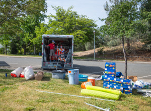 Volunteers stocking aid stations